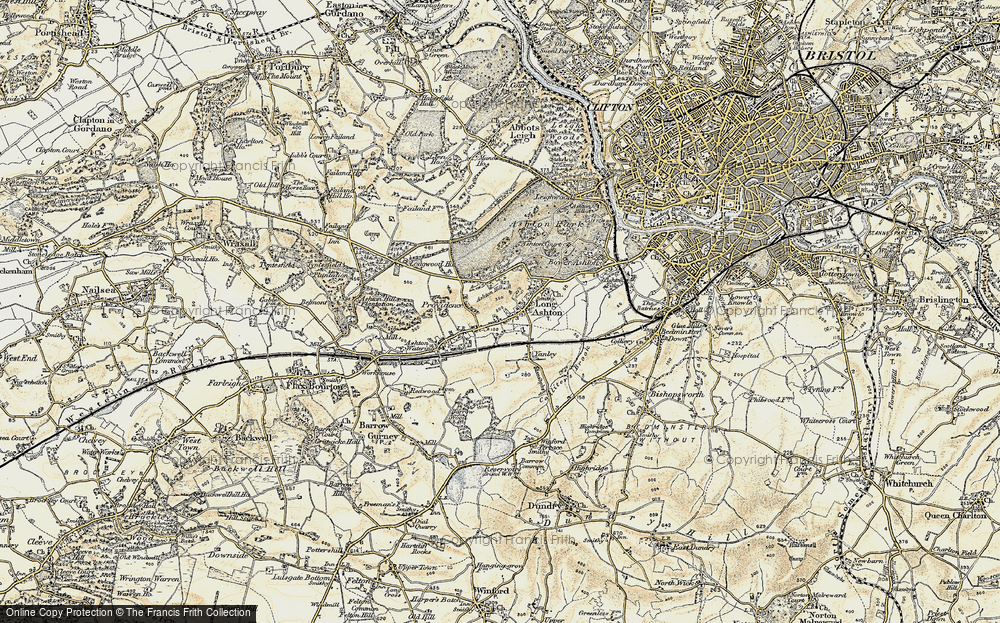 Old Map of Historic Map covering Ashton Hill in 1899