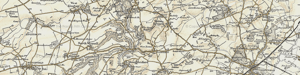 Old map of West Yatton Down in 1898-1899