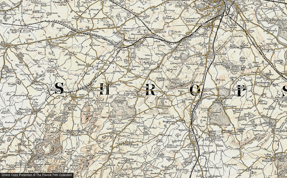 Old Map of Historic Map covering Arscott Villa in 1902