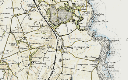 Old map of Longhoughton in 1901-1903