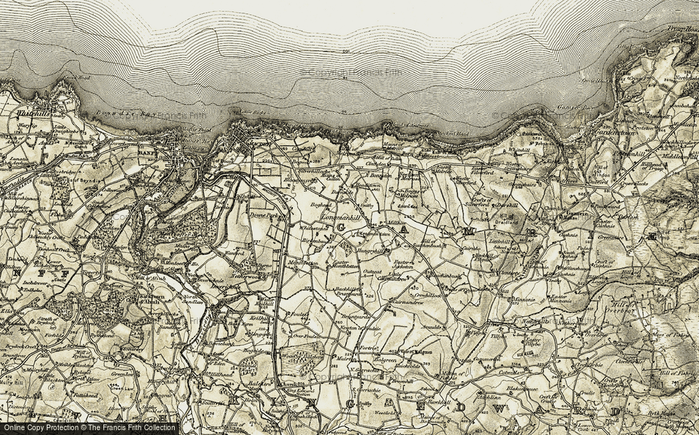 Old Map of Historic Map covering Backhill of Bruntyards in 1909-1910