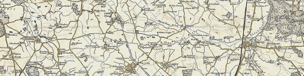 Old map of Whiston Brook in 1902