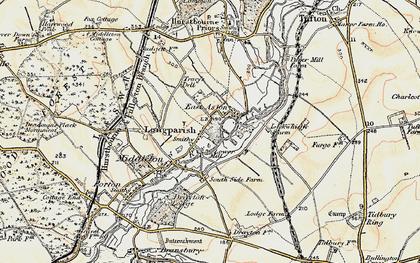 Old map of Longparish in 1897-1900