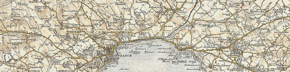 Old map of Tolver in 1900