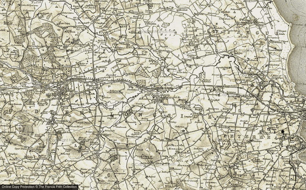 Old Map of Historic Map covering Auchlee in 1909-1910