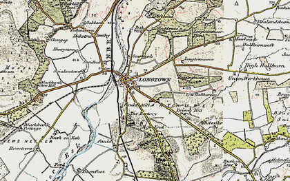 Old map of Longtown in 1901-1904