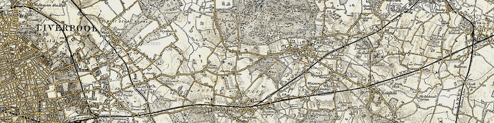 Old map of Huyton-With-Roby in 1902-1903