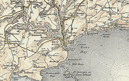Old map of Looe in 1900