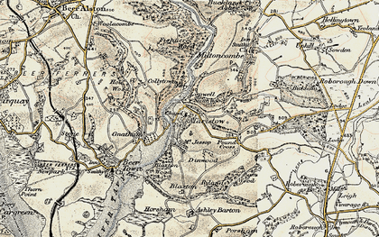 Old map of Bame Wood in 1899-1900