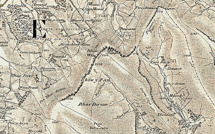 Old map of Afon Honddu in 1900-1902