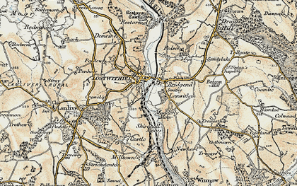 Old map of Lostwithiel in 1900
