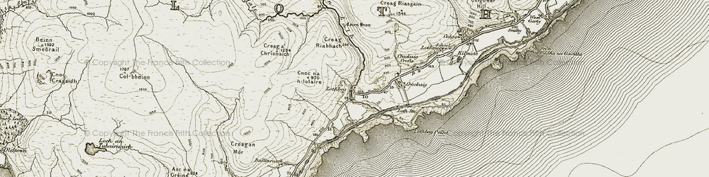 Old map of Tobar Mheasain in 1911-1912