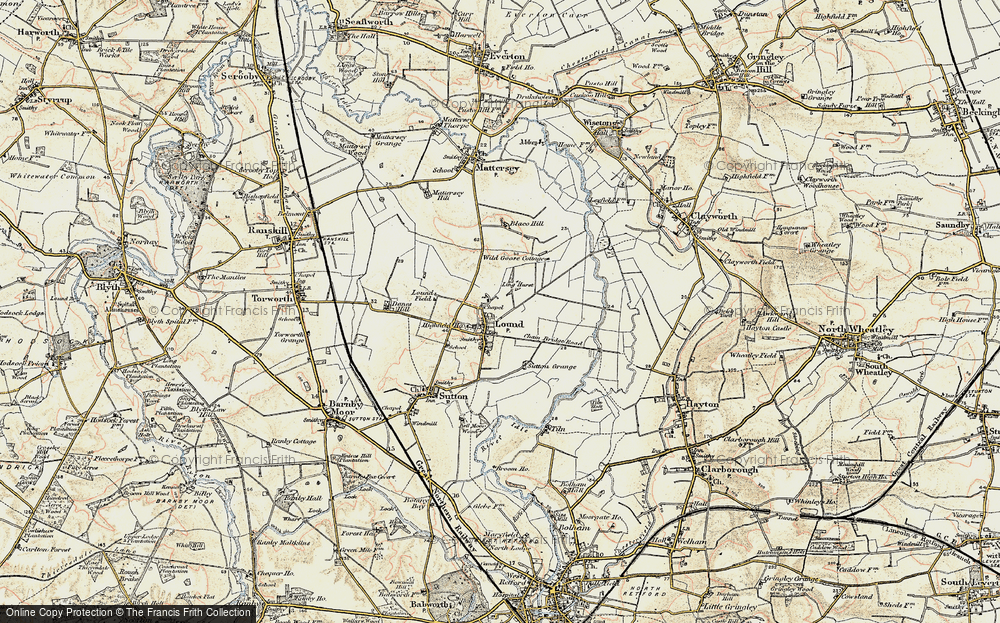 Old Map of Historic Map covering Ling Hurst Lakes in 1903
