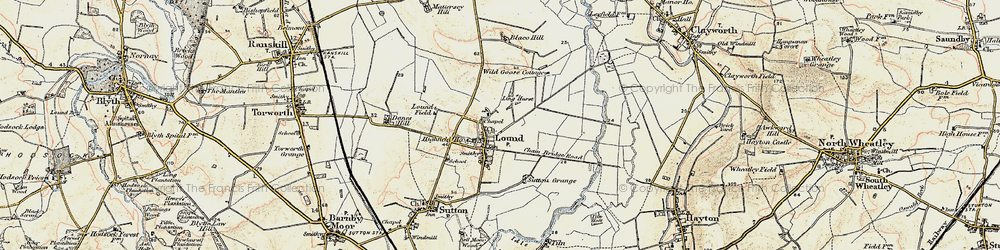 Old map of Ling Hurst Lakes in 1903