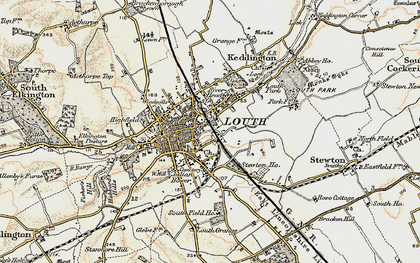Old map of Louth in 1903