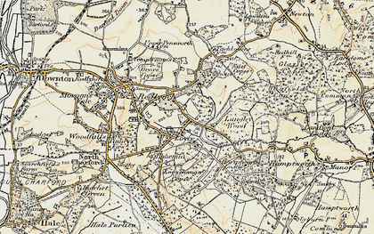 Old map of Langley Wood in 1897-1909