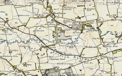 Old map of Low Angerton in 1901-1903