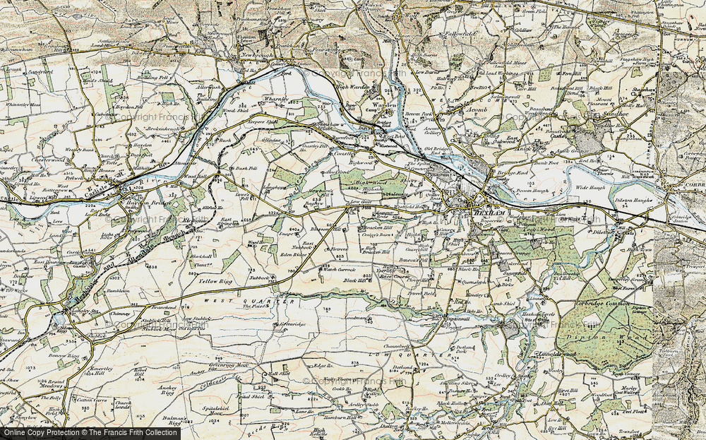 Old Map of Historic Map covering Leazes in 1901-1904