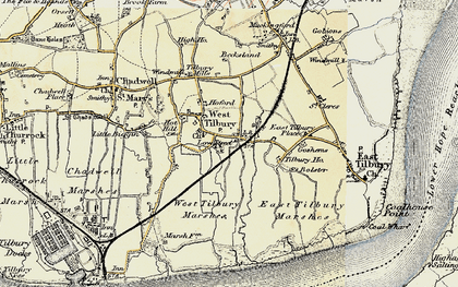 Old map of West Tilbury Marshes in 1897-1898