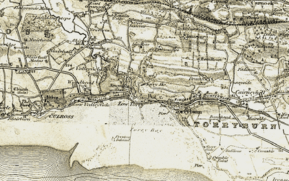 Old map of Langleas in 1904-1906