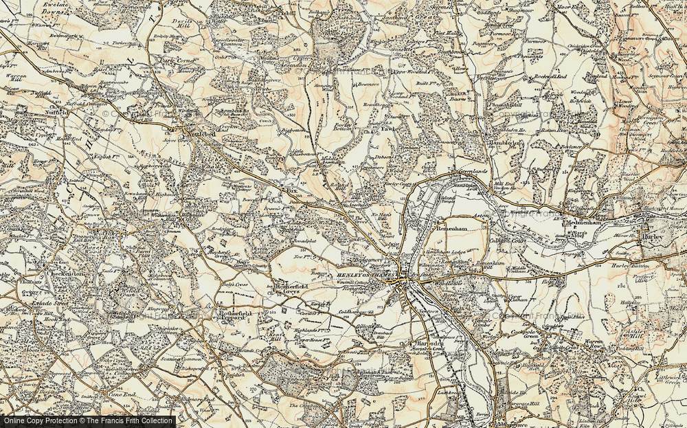 Old Map of Historic Map covering Badgemore Ho in 1897-1909
