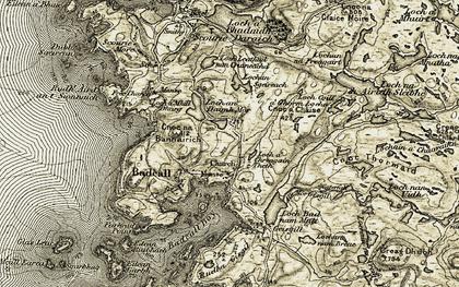 Old map of Allt Mòr Gisgil in 1910