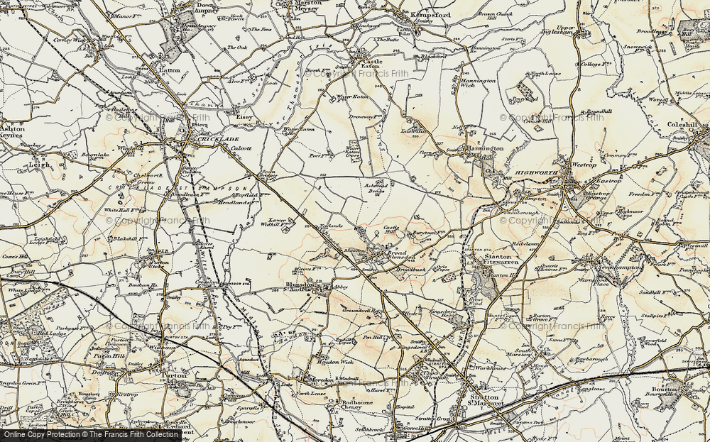 Old Map of Historic Map covering Ashmead Brake in 1898-1899