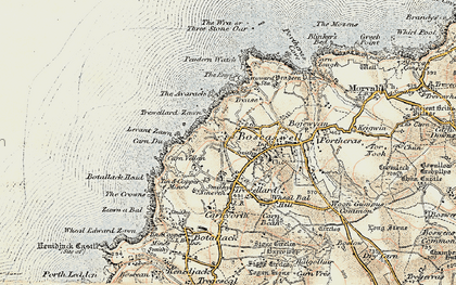 Old map of Levant Zawn in 1900