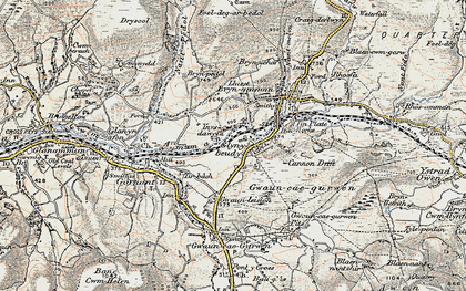 Old map of Lower Brynamman in 1900-1901