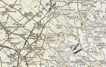 Old map of Whiteleaf Cross in 1897-1898