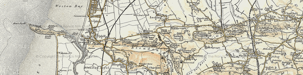 Old map of Hutton in 1899-1900
