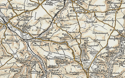 Old map of Lower Croan in 1900