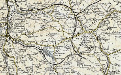 Old map of Lower Crossings in 1902-1903