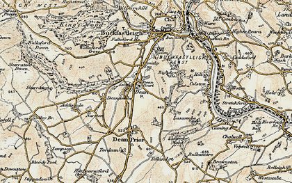 Old map of Lower Dean in 1899