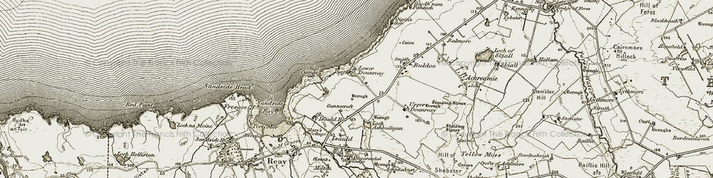 Old map of Achbuiligan Tulloch in 1912