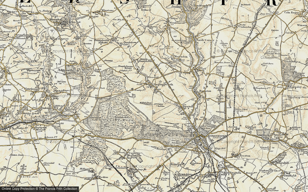 Old Map of Historic Map covering Alfred's Hall in 1898-1899