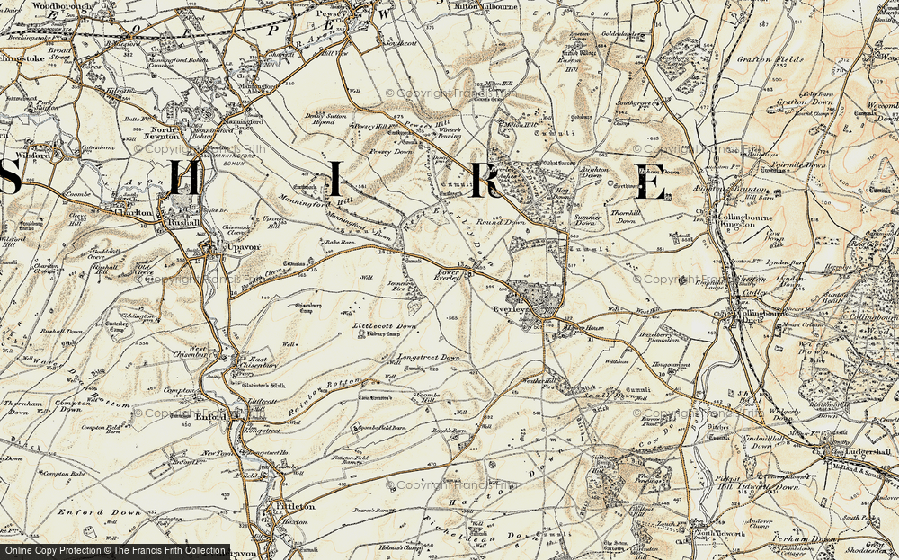 Old Map of Historic Map covering Lidbury Camp in 1897-1899