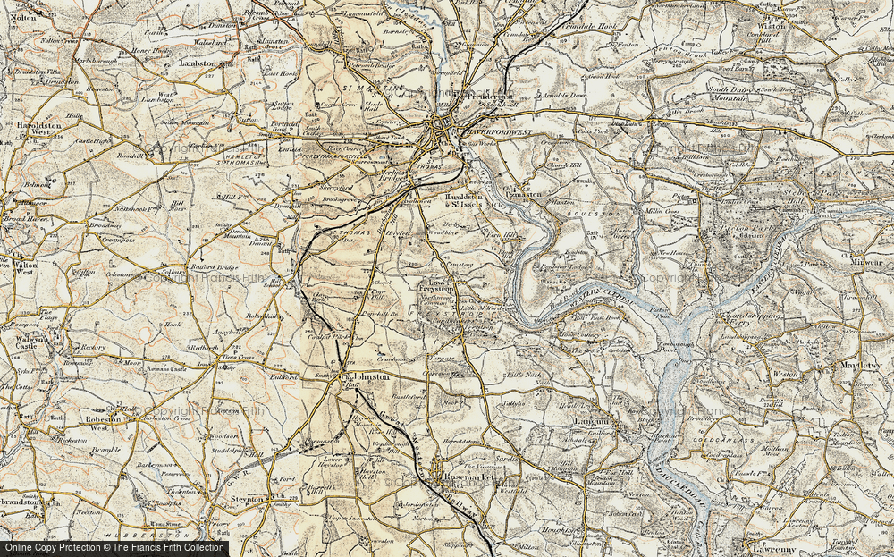 Old Map of Historic Map covering Woodbine in 1901-1912