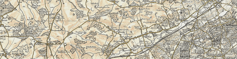 Old map of Lower Froyle in 1897-1909