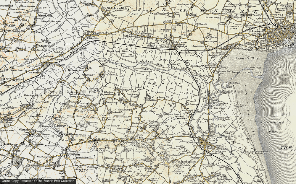 Old Map of Historic Map covering Ash Level in 1898-1899