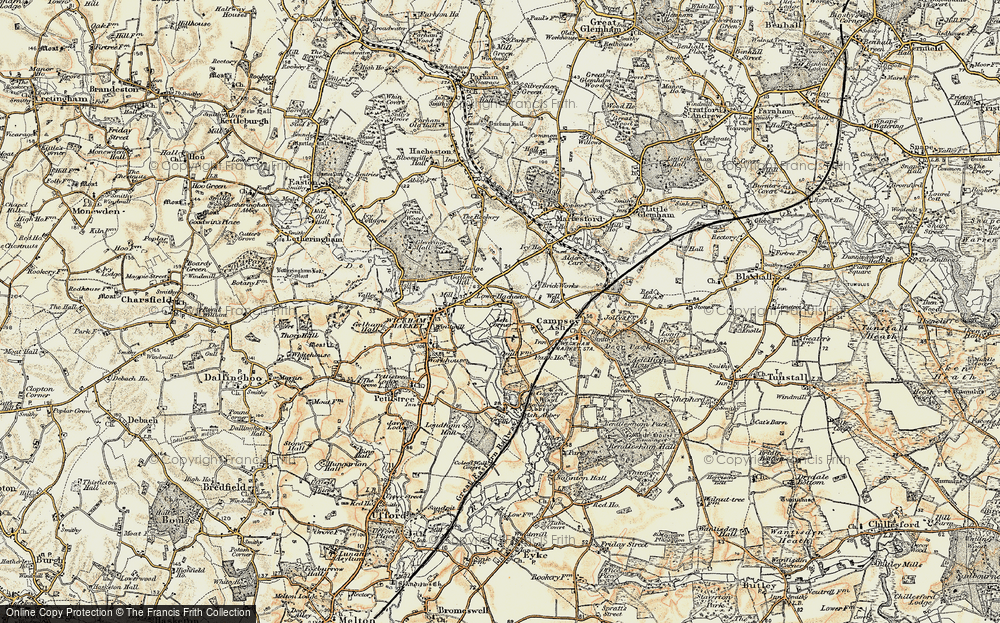 Old Map of Historic Map covering Ash Corner in 1898-1901
