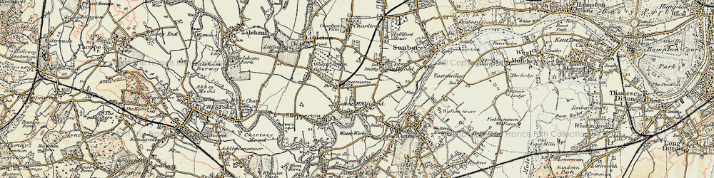 Old map of Lower Halliford in 1897-1909