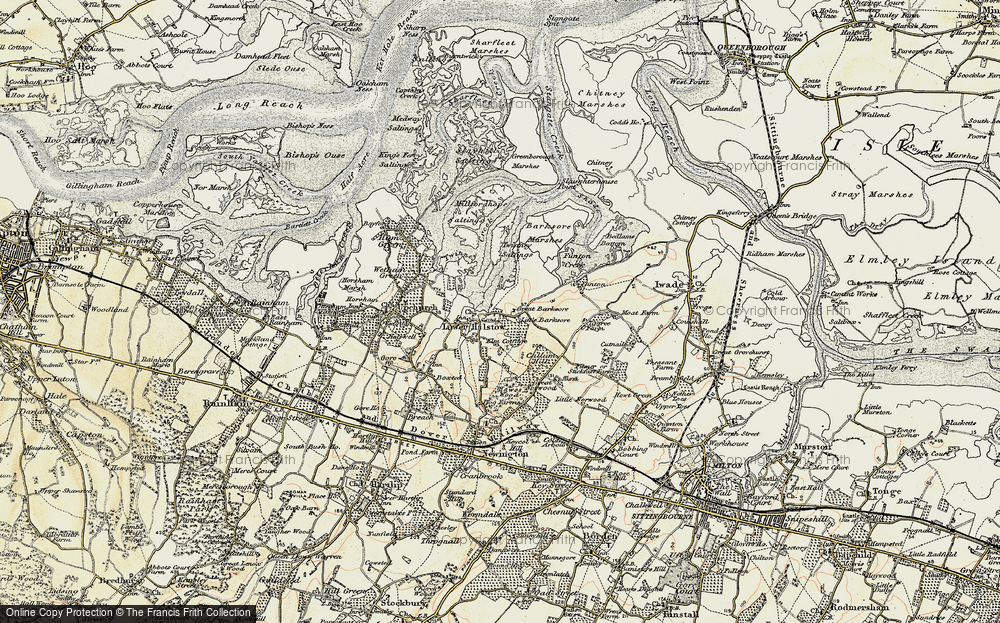 Old Map of Historic Map covering Barksore Marshes in 1897-1898