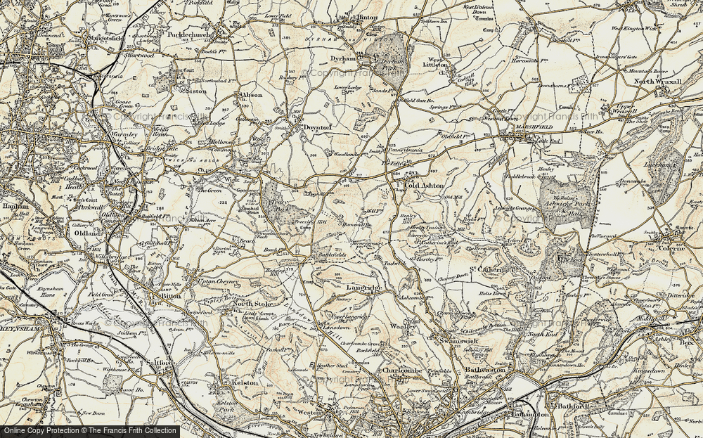 Old Map of Historic Map covering Tog Hill in 1899
