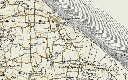 Old map of Lower Happisburgh in 1901-1902