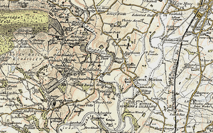 Old map of Lower Hodder in 1903-1904
