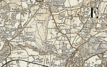 Old map of Lower Kingswood in 1898-1909