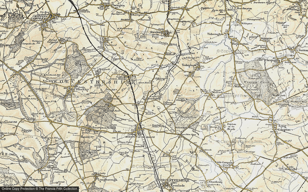 Old Map of Historic Map covering Lemington Manor in 1899-1901