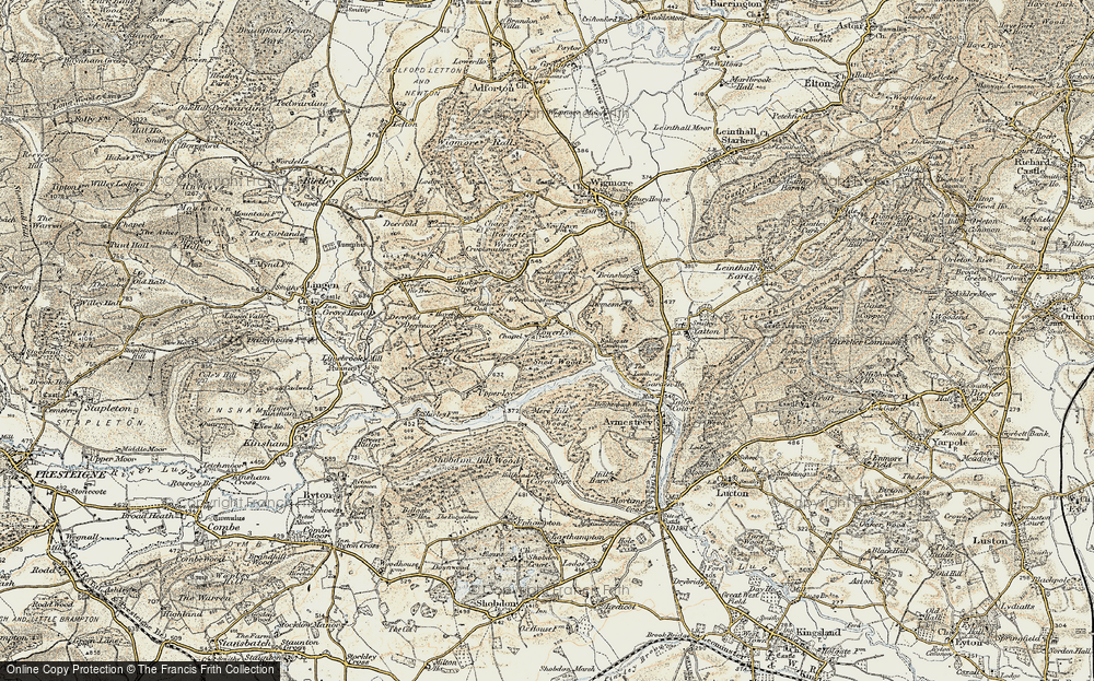 Old Map of Historic Map covering Woodhampton Wood in 1901-1903