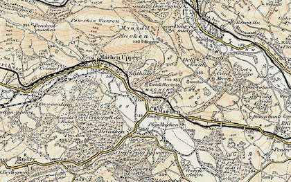 Old map of Lower Machen in 1899-1900